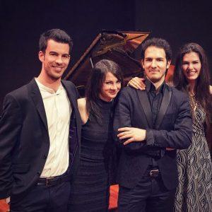 De gauche à droite, les pianistes Philippe Boaron, Valentina Gheroghiu, Dinu Mihailescu, Oana Dinea. ©Oana Dinea